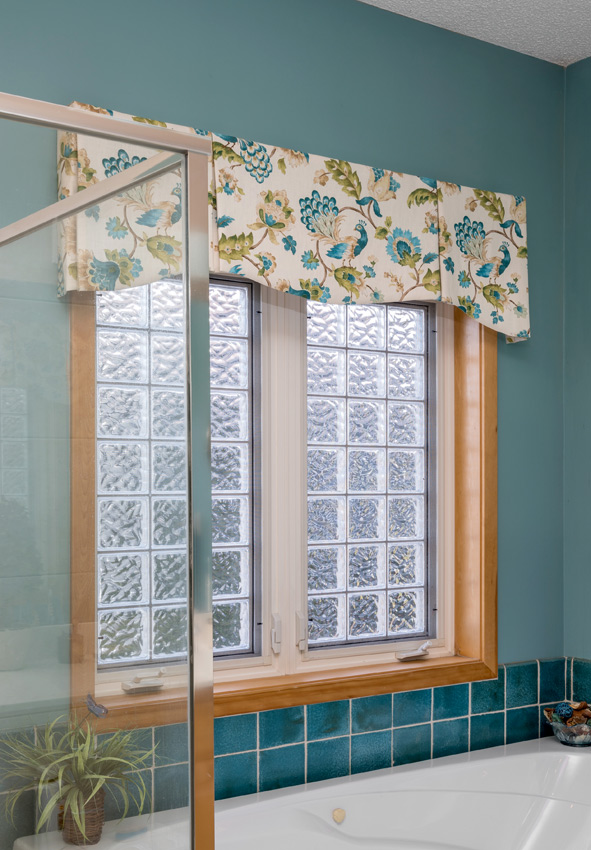 teal bathroom floral custom top treatments Maple Grove 55369