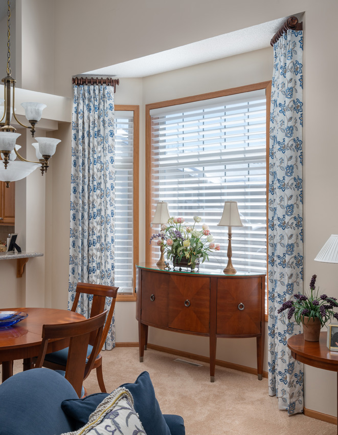 dining room Hunter Douglas silhouette shades and custom drapery Maple Grove 55369