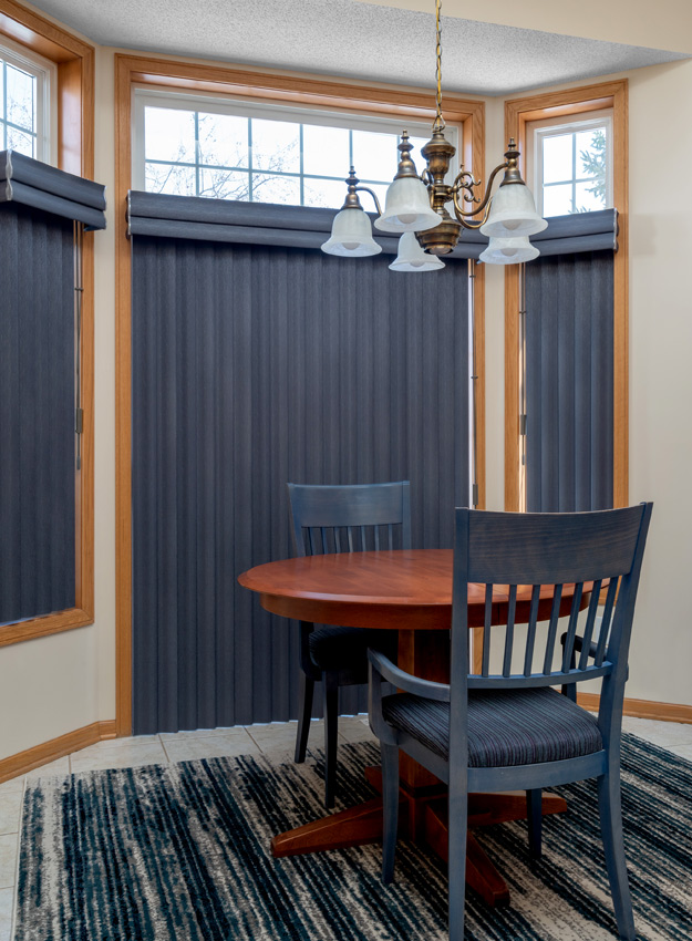 breakfast nook navy blue Hunter Douglas Cadence soft vertical blinds sliding glass door traditional kitchen brown Hunter Douglas duette honeycomb shades St Paul 55113