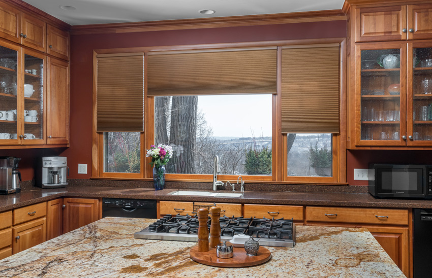 traditional kitchen brown Hunter Douglas duette honeycomb shades St Paul 55113