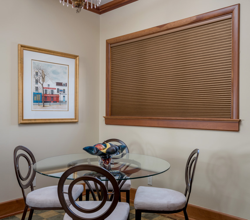 dining room brown hunter douglas duette honeycomb shade Burnsville 55337