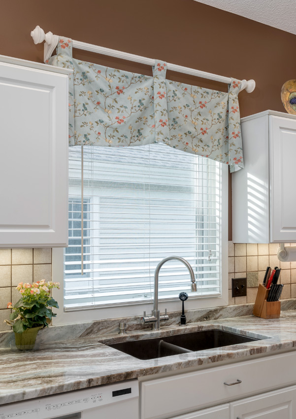 kitchen floral custom top treatment Burnsville 55337