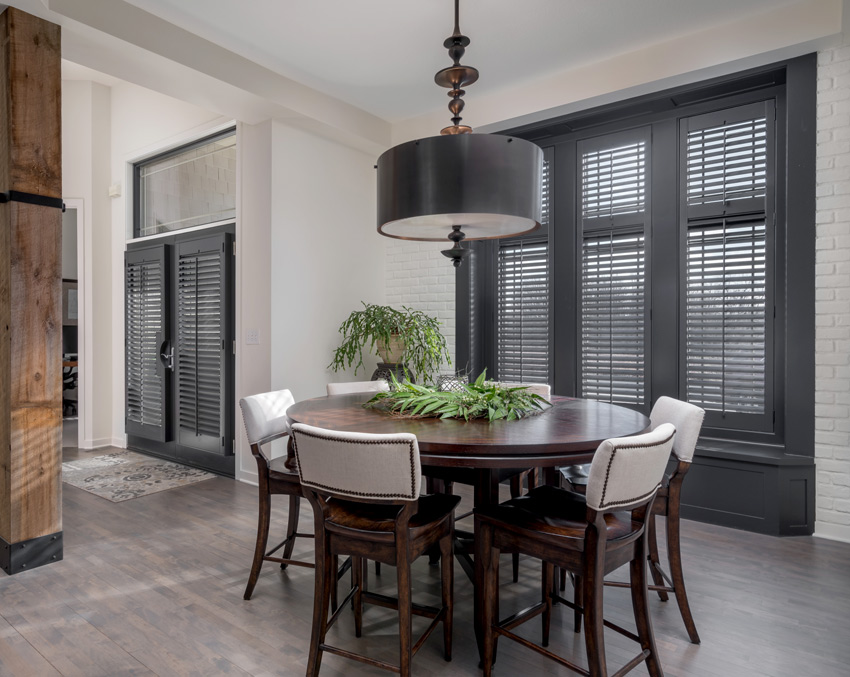 breakfast nook black Hunter Douglas heritance hardwood plantation shutter large window and french door Burnsville 55337