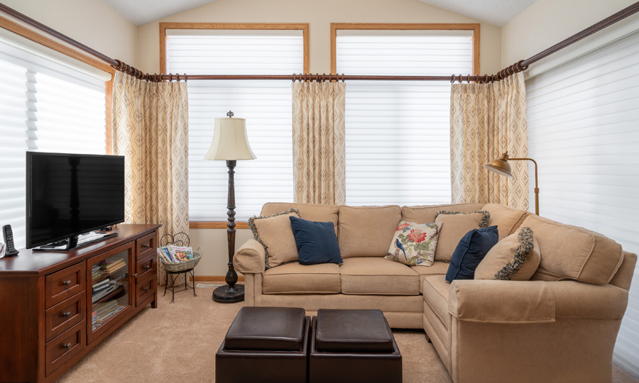 living room Hunter Douglas Silhouette window shades large floor to ceiling window Maple Grove 55369