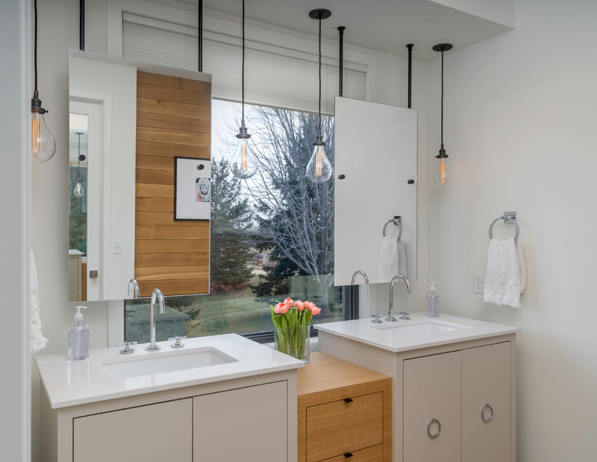 contemporary bathroom with duette cellular shades Maple Gove MN