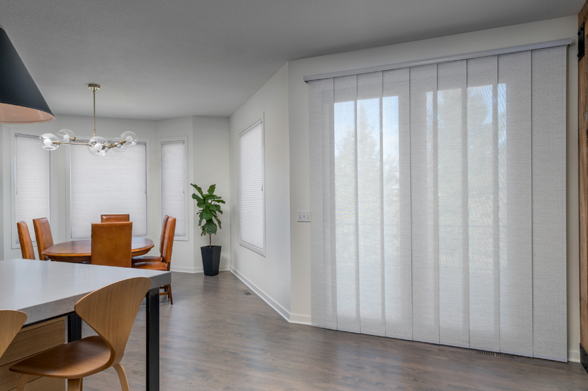 dining room Hunter Douglas skyline gliding window panels sliding glass doors Maple Grove 55369