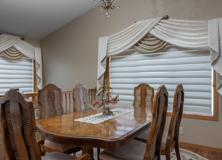 Dining room design Hunter Douglas pirouette shades with custom drapery Maple Grove 55369