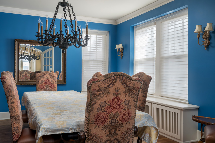 aero drapery and blind Hunter Douglas silhouette shades blue dining room St Paul 55113