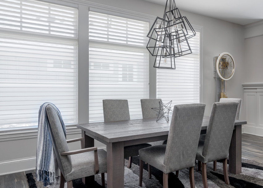 Hunter Douglas white silhouette shades dining room St Paul 55113
