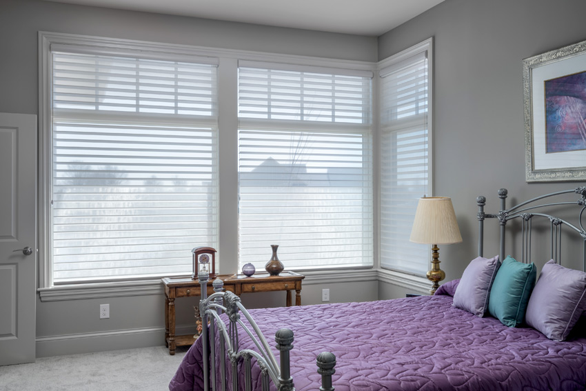 Hunter Douglas white silhouette shades for bedroom light control St Paul 55113