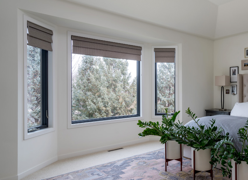 gray custom roman shades Hunter Douglas vignettes for bedroom Maple Grove 55369