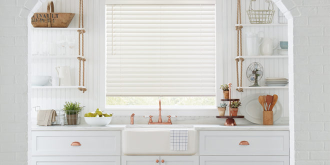 shades of white kitchen horizontal everwood blinds Hunter Douglas ST Paul 55331