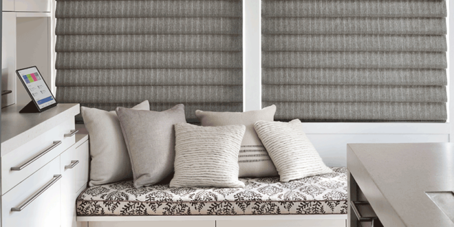 vignette modern roman smart shades for energy saving Hunter Douglas St Paul 55331