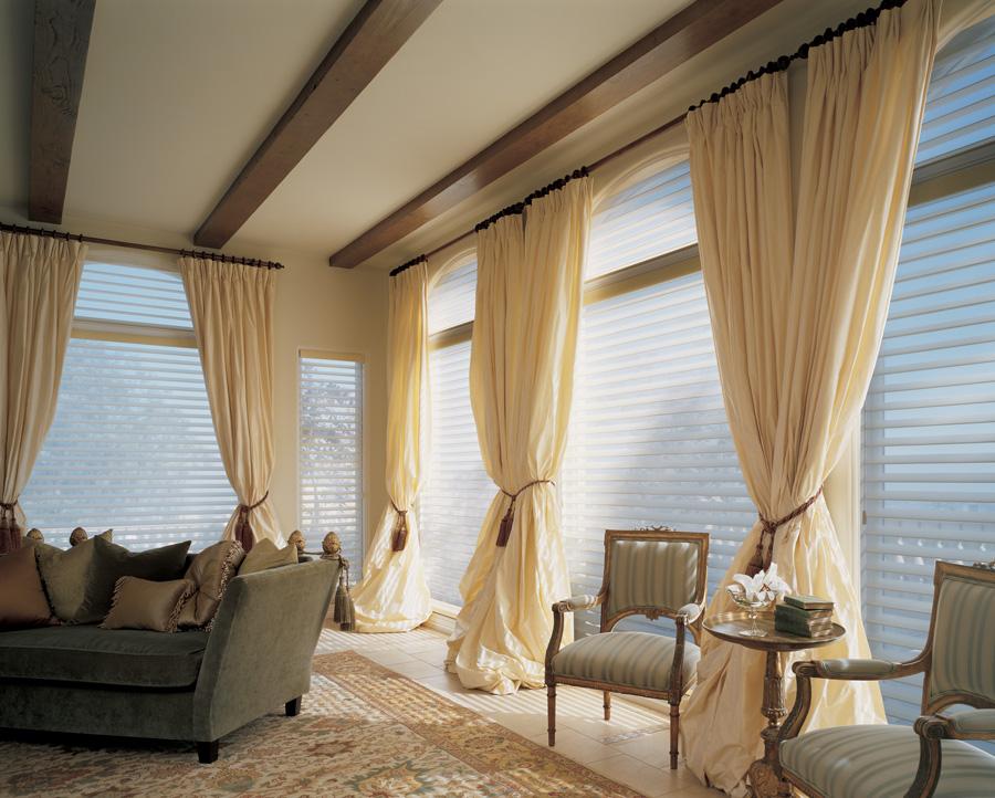 silhouette sheer shades living room filtered sunlight hunter douglas st paul 55113
