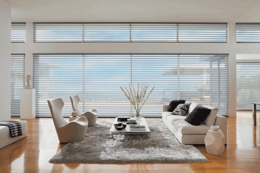 living room silhouette shades minimalism home design Hunter Douglas St Paul 55113