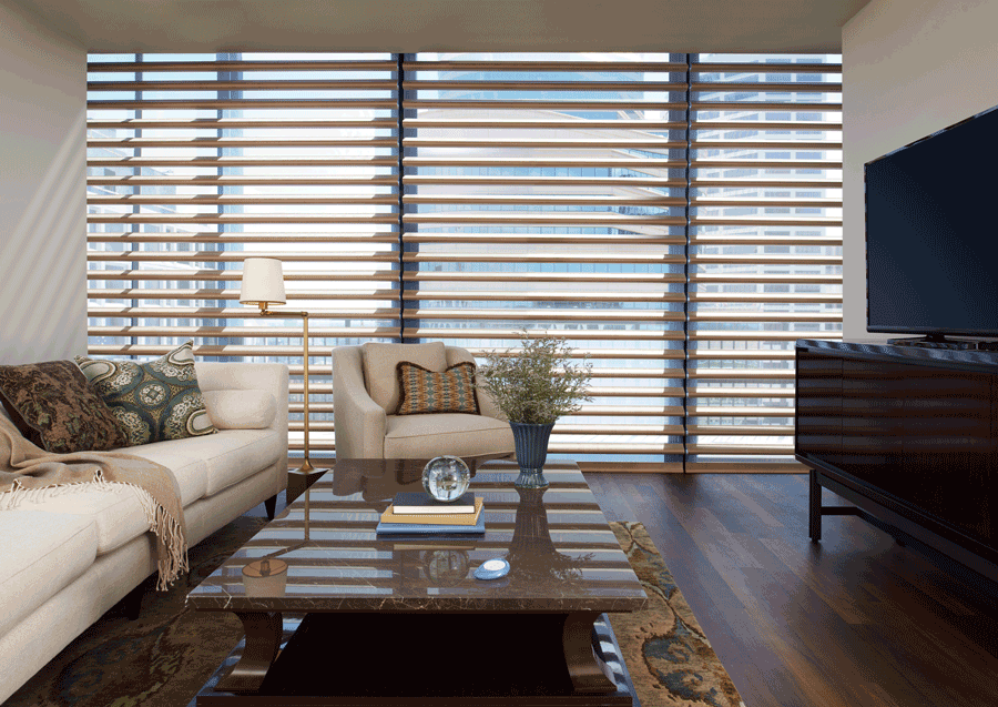 living room pirouette shades covering floor to ceiling windows Hunter Douglas St Paul 55113
