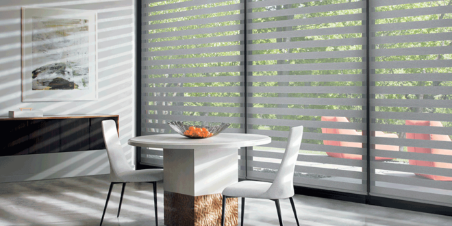 dining room banded shades covering floor to ceiling windows Hunter Douglas St Paul 55113