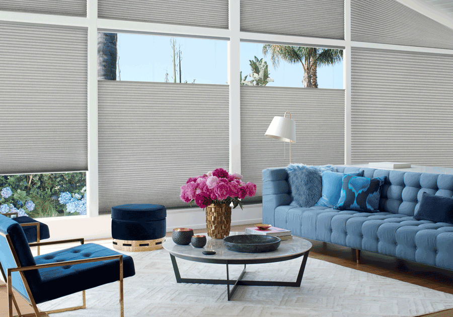living room top down shades duette honeycomb shades Hunter Douglas St Paul 55113
