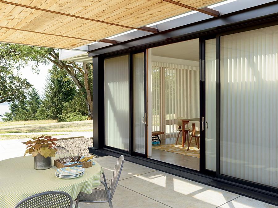 patio sliding glass door luminette vertical shades summer ready Hunter Douglas St Paul 55113