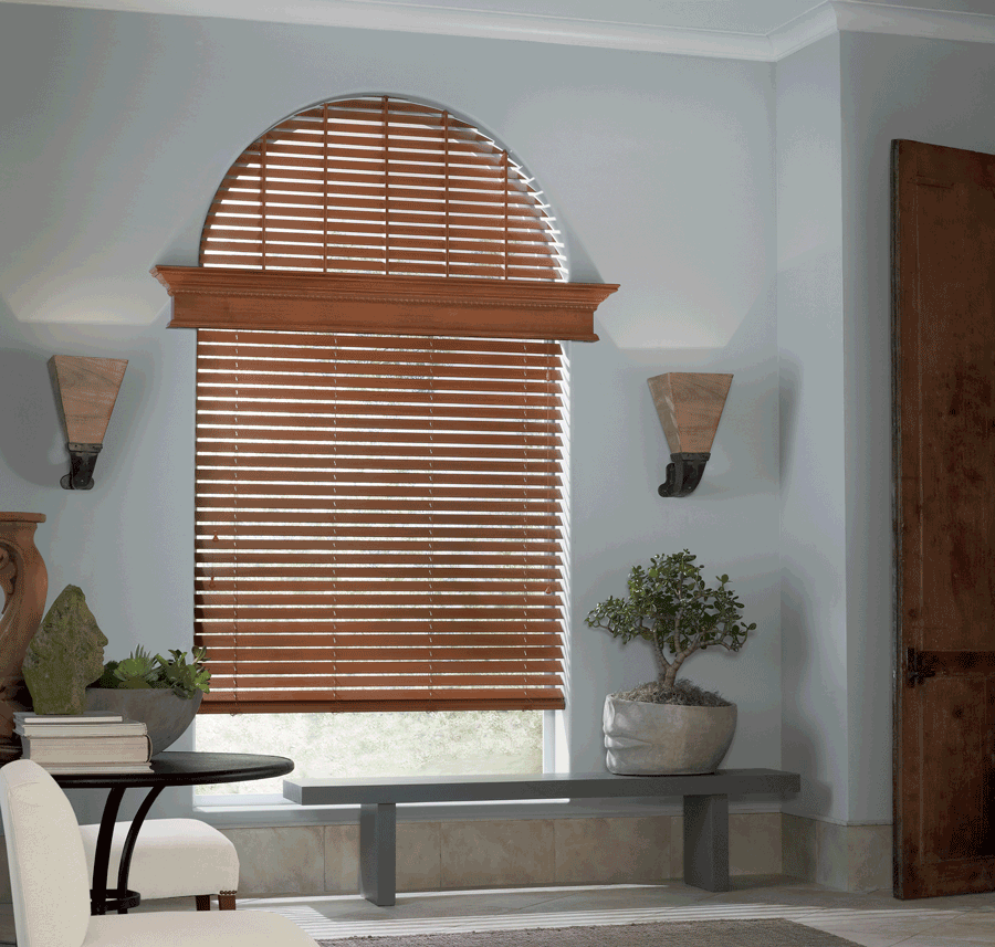 entry way full coverage arched window treatments horizontal blinds Hunter Douglas Burnsville 55337