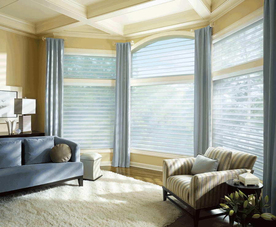 bedroom arched window treatment silhouette window shades Hunter Douglas St Paul 55113