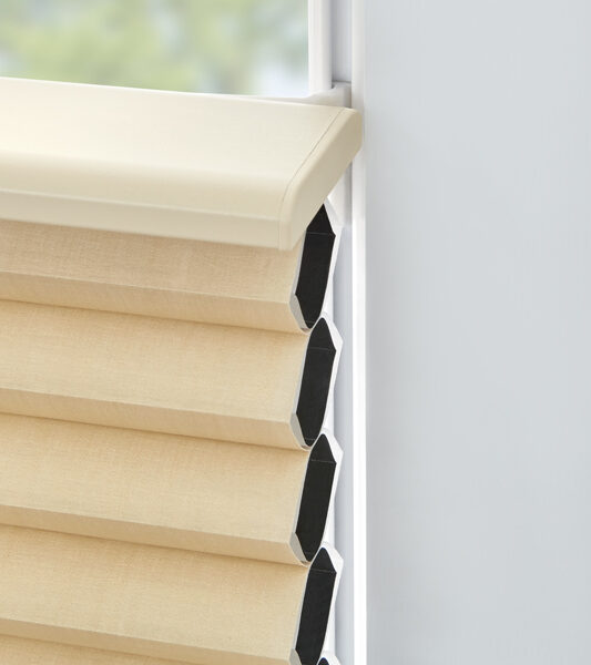 tilt turn window with gold duette honeycomb shades Track glide St Paul 55113