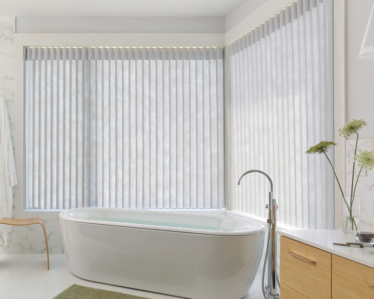 bathroom corner window with luminette vertical shades in Maple Grove 55369