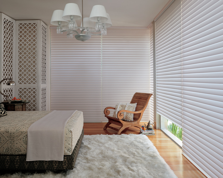 bedroom with corner window covered with silhouette shades St Paul 55113