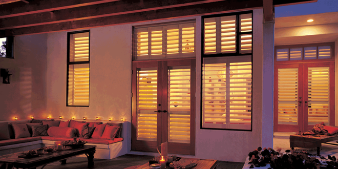 View of plantation shutters from the exterior of a Minneapolis home