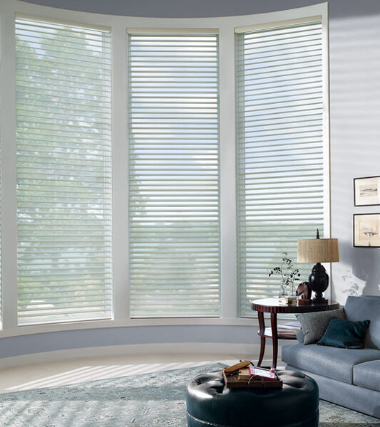 modern living room with bow windows covered with silhouette window shades in Burnsville 55337