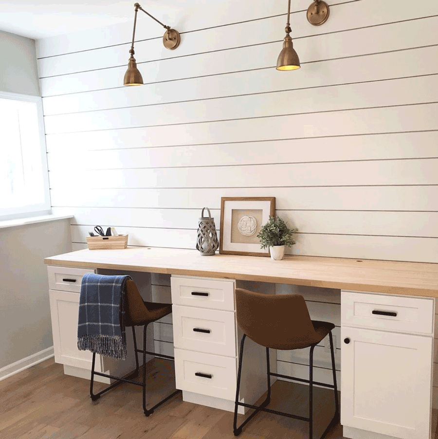 Farmhouse style home office with shiplap accent wall in Minneapolis, MN.