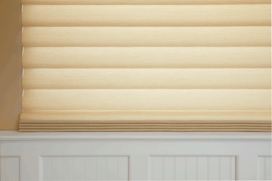 Close up of vignette modern roman shades in Minneapolis.