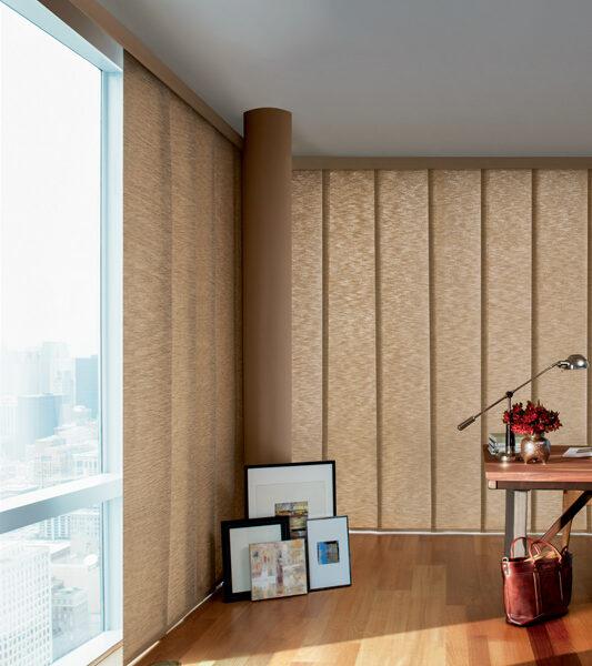 floor to ceiling blinds Skyline Gliding window panels on corner windows Burnsville 55337