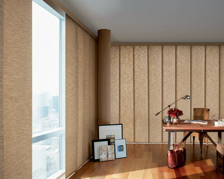 floor to ceiling blinds Skyline Gliding window panels on corner windows Burnsville 55337