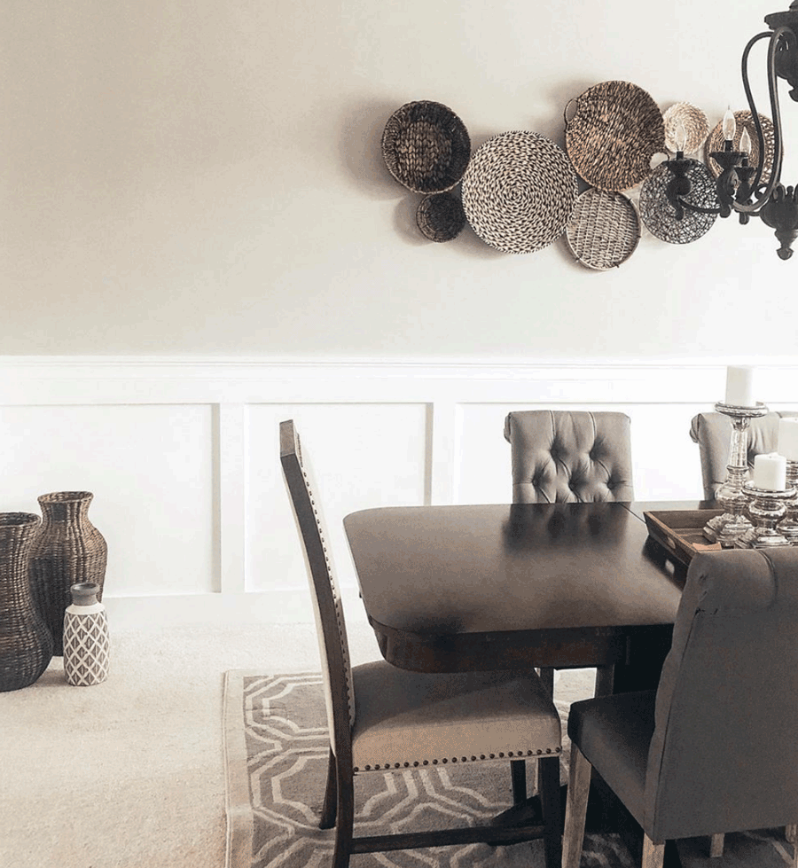 Cozy and neutral dining room features an accent wall as a style statement in Minneapolis, MN.