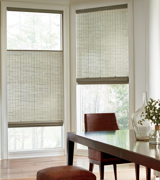 traditional dining room woven wood shades for bay window Maple Grove 55369