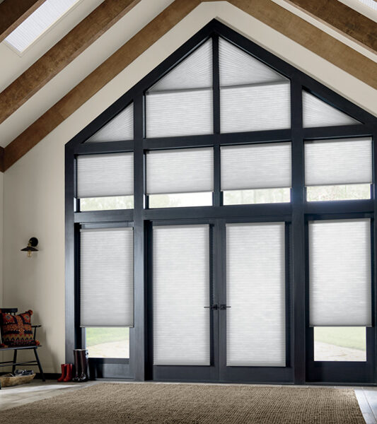 french doors and angled windows with honeycomb shades St Paul MN