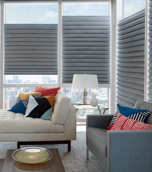 covered corner windows with solera roman shades St Paul MN