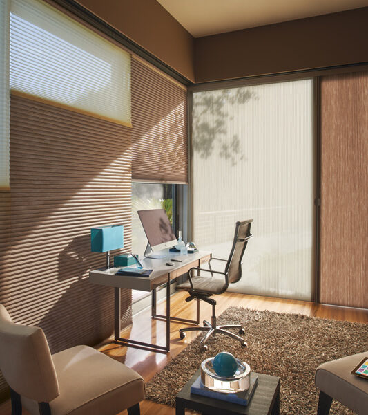 home office with sleek desk and duolite dual shades for large windows duette honeycomb shades by Hunter Douglas St Paul 55113