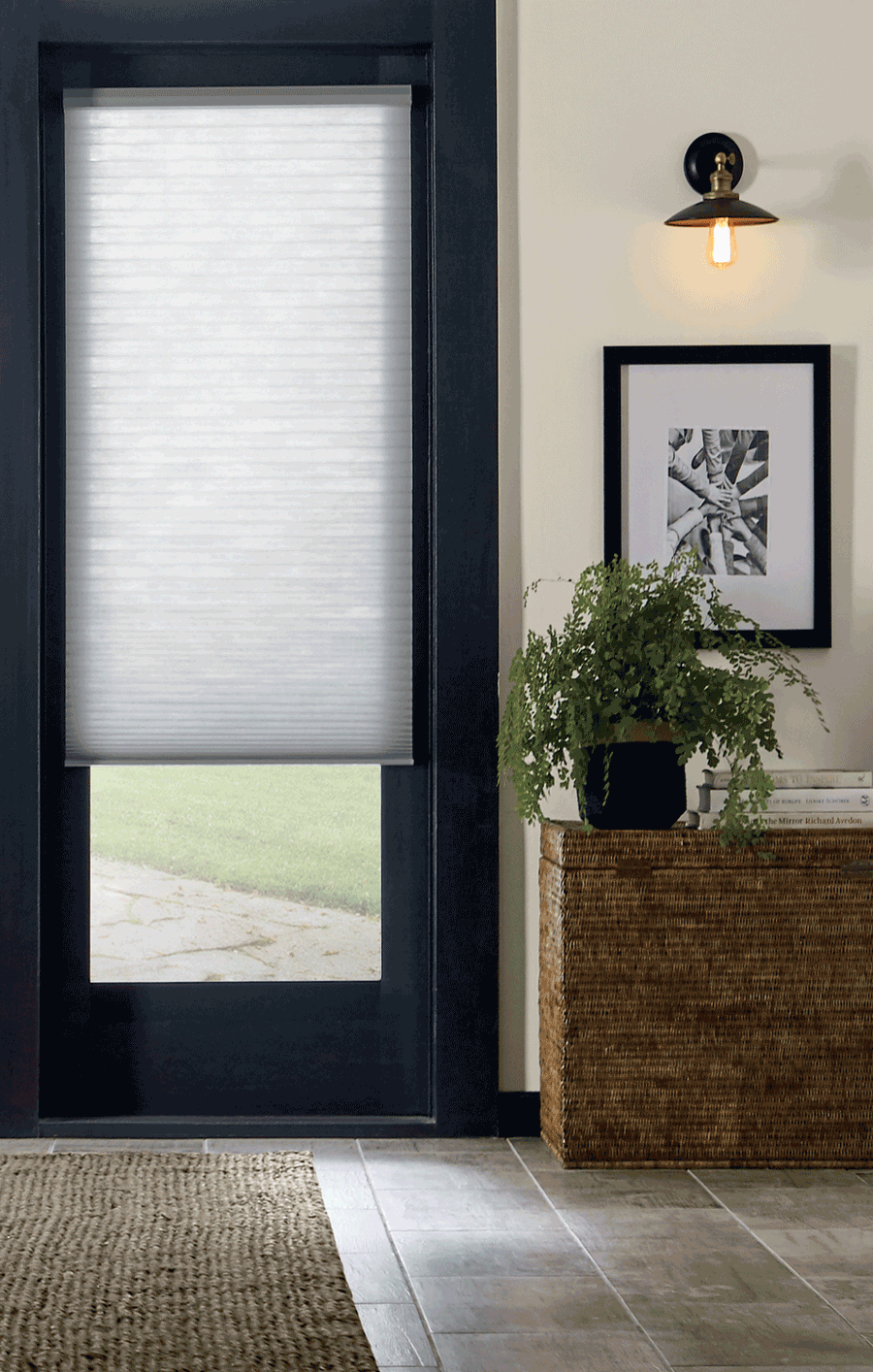 Door with motorized shades as a style statement in Minneapolis, MN.