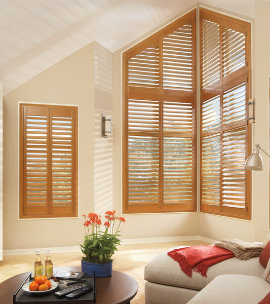 interior shutters on angled windows Little Canada MN