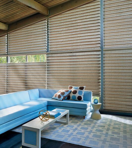 living room angled window treatments roman shades St Paul 55113