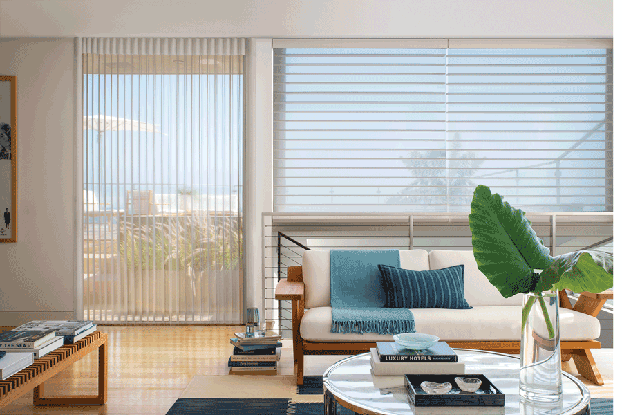 living room neutral colors coordinated window blinds St Paul