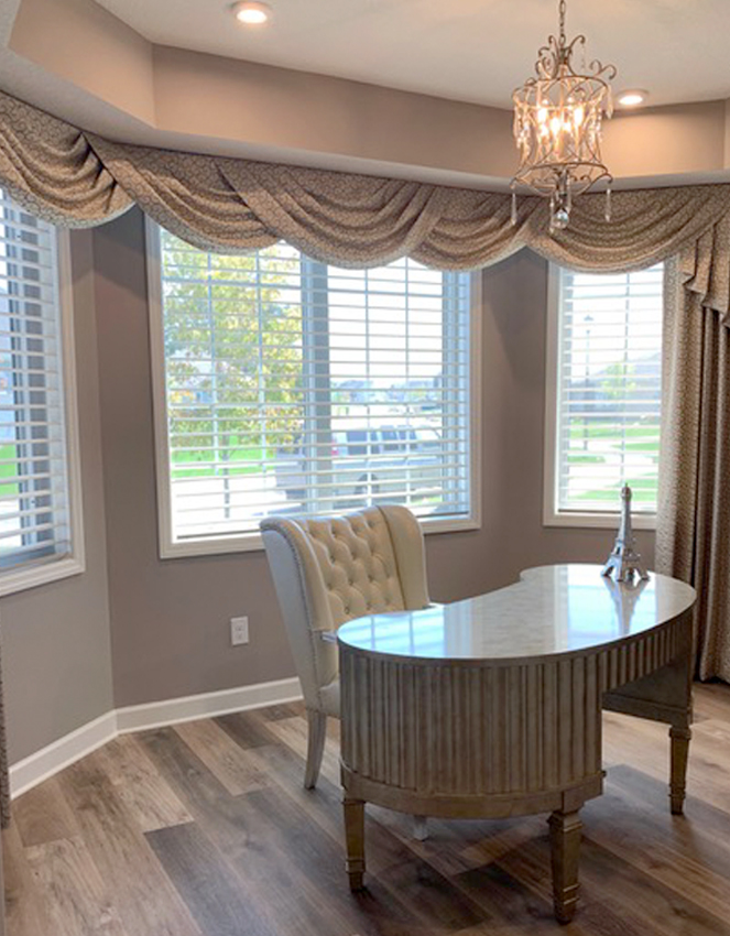 dining room hunter douglas silhouette window shades with drapery St Paul