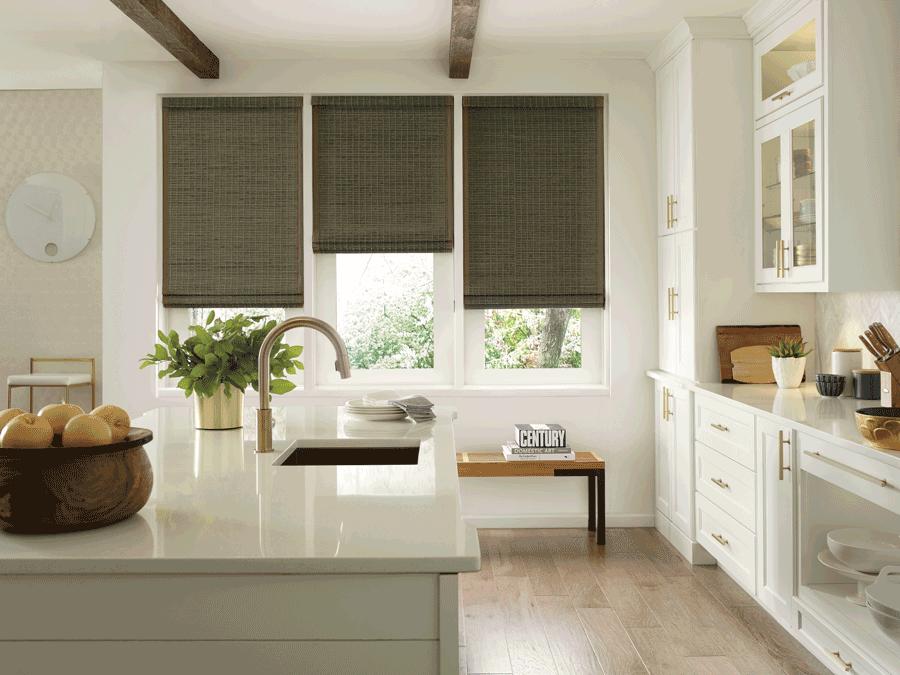 Woven farmhouse style window treatments in a Minneapolis kitchen.