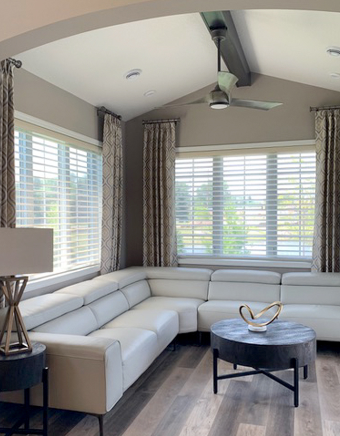 hunter douglas silhouette shades and drapery on large windows Maple Grove 55369