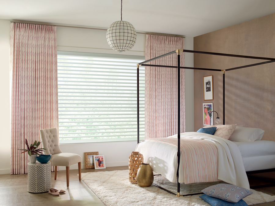 contemporary bedroom with design studio window treatments drapery and shades St Paul 55113