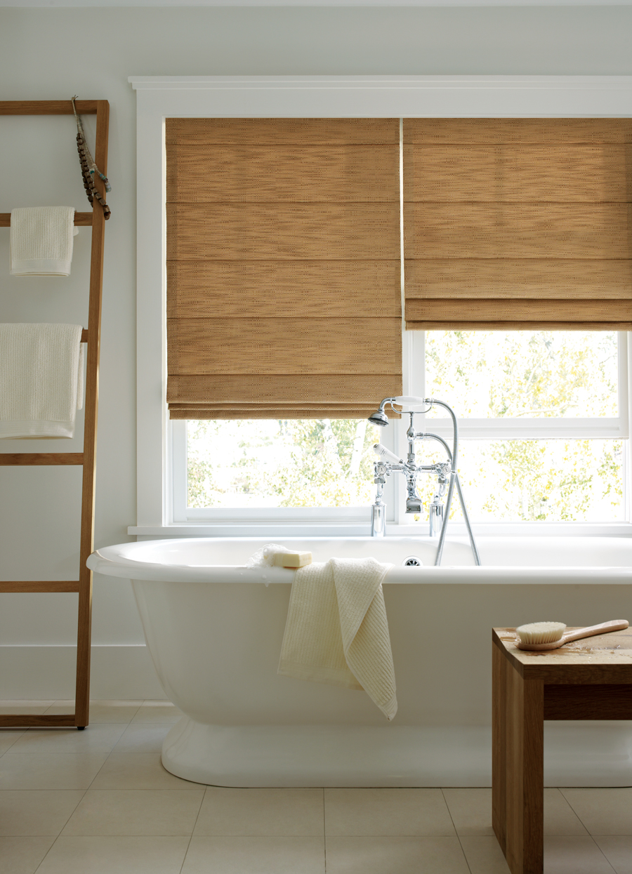 contemporary white bathroom design with design studio window treatments roman shades Maple Grove 55369