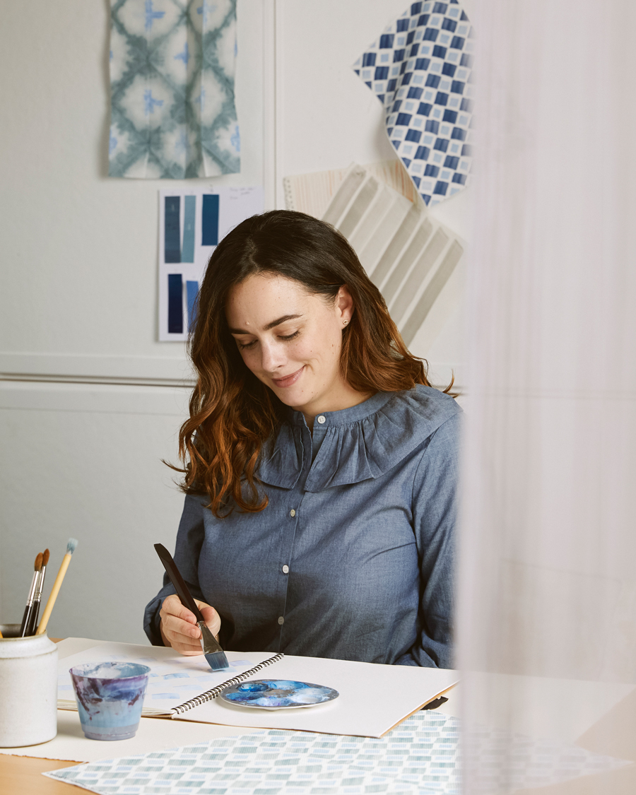 rebecca atwood textile designer at work