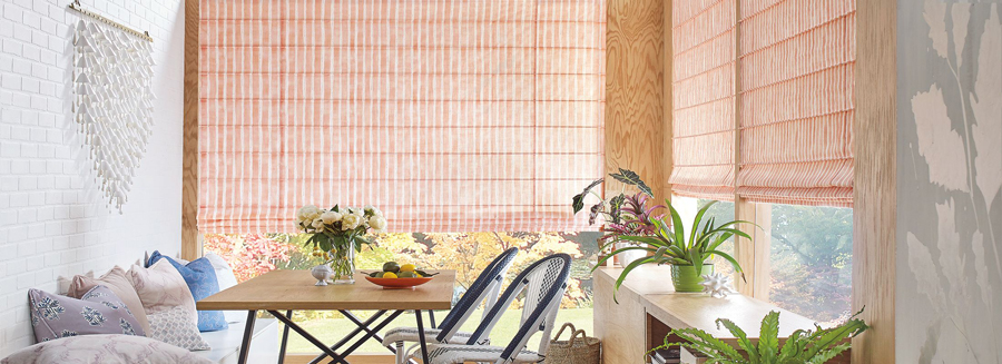 custom roman shades in coral color Burnsville MN